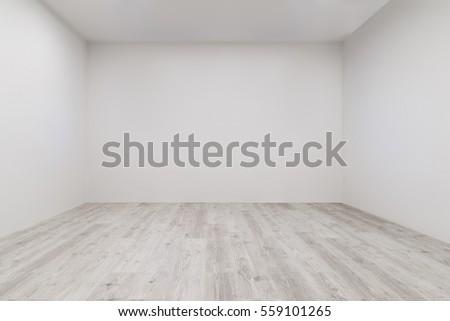 Empty Room Whitewashed Floating Laminate Flooring Stock Photo