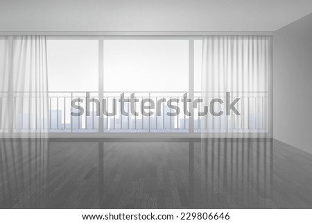 Empty room with window front - stock photo