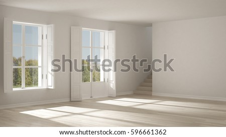 Empty Room With Windows And Stairs Minimalist Scandinavian Interior Design 3d Illustration