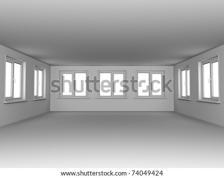 Empty room with windows. In gray color.