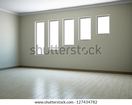 Empty room with windows of the different size - stock photo