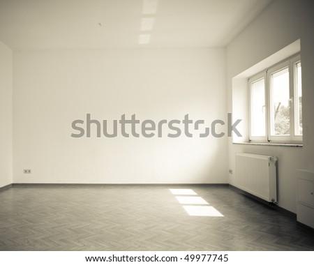 empty room with windows, vintage, dark monochrome - stock photo