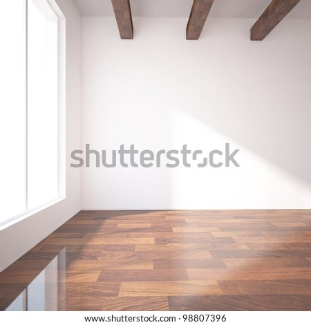 empty room with wooden beams - stock photo