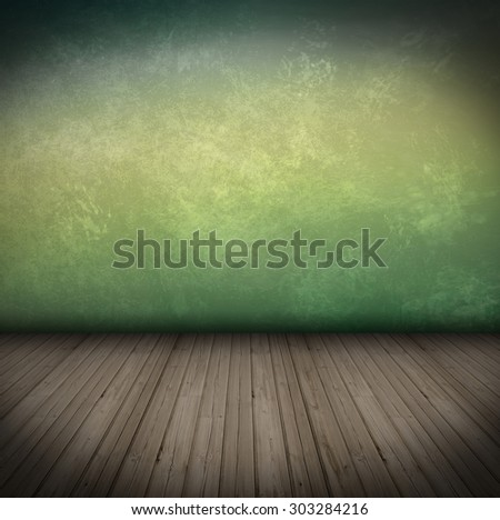 Empty Room With wooden Floor and old colored Wall grungy Interior  - stock photo