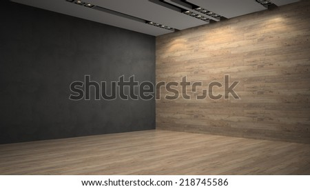 Empty room with wooden wall - stock photo