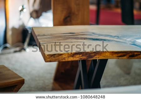 Empty Rough Wooden Table Top. Solid Wood Furniture.