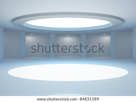empty round gallery with skylight and niches for exhibits - 3d illustration - stock photo