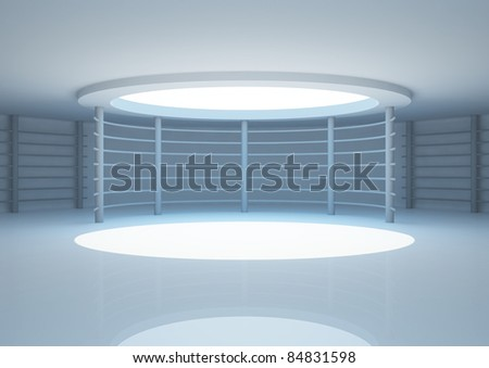empty round room with constructions and skylight, interior showroom - 3d illustration - stock photo