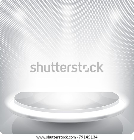 Empty round shelf for exhibition. Backlit. - stock photo
