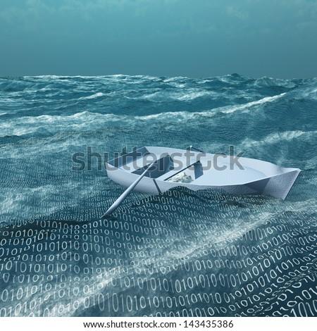 Empty rowboat afloat on binary ocean - stock photo