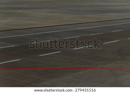 Empty runway at the airport. Concept travel. - stock photo