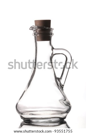 Empty salad dressing bottle on white background - stock photo