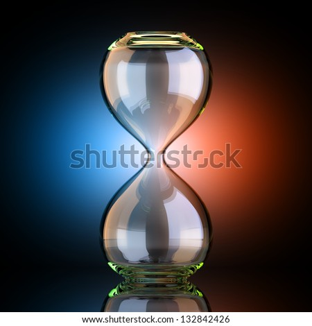 Empty Sand Clock In Black Studio With Artistic Backlight - stock photo