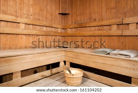 Empty sauna room - stock photo