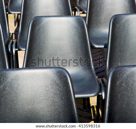 empty seat in italy europe background black  texture - stock photo