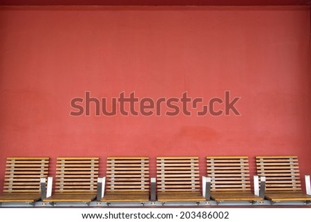 Empty seats on railway station - stock photo