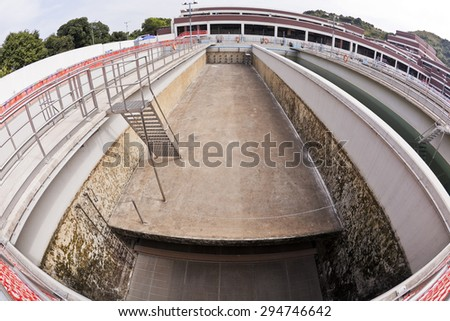 Empty sedimentation tank in a water treatment plant