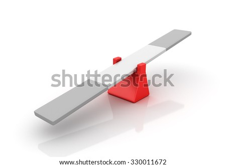 Empty Seesaw - Balance Concept - High Quality 3D Render  - stock photo