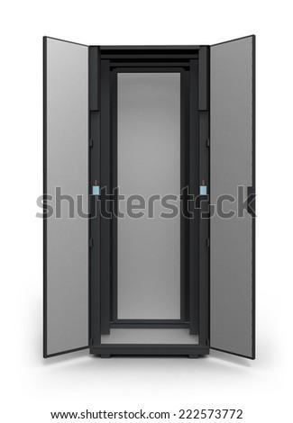 Empty server rack isolated on white background - stock photo