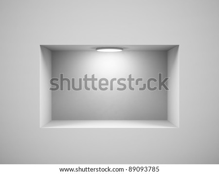 Empty shelf for exhibit in the wall. 3d image. - stock photo