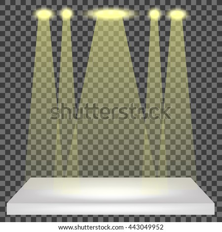 Empty Shelf Isolated on Checkered Pattern. Spotlights Set - stock photo