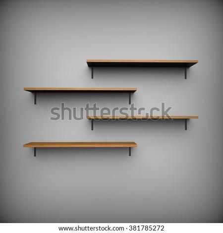 Empty shelves illustration - stock photo