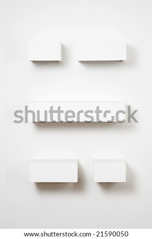 Empty shelves in gallery - stock photo