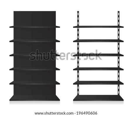 Empty shop shelves black - stock photo