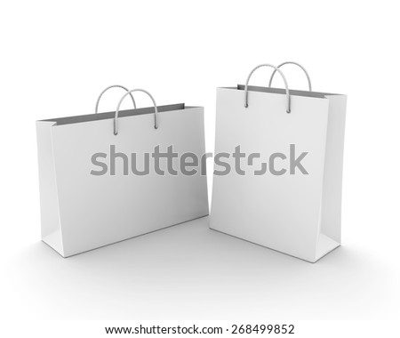 Empty Shopping Bag on white for advertising and branding - stock photo
