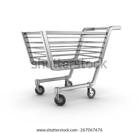 Empty shopping basket, isolated - stock photo