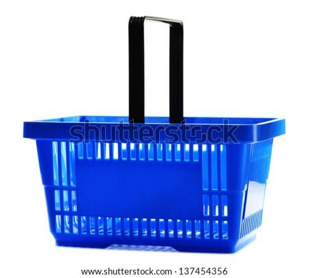 Empty shopping basket isolated on white background - stock photo