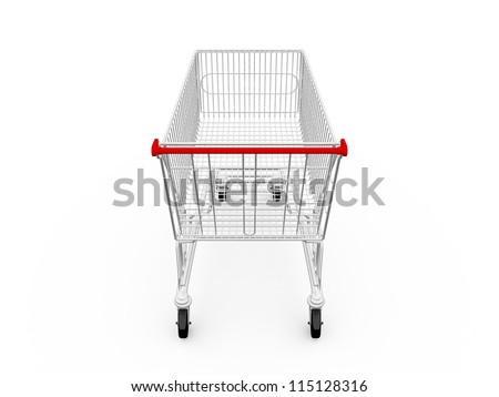 Empty shopping cart, back view, isolated on white background. - stock photo