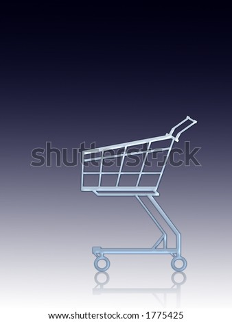 Empty shopping cart. Blue, vertical lined background