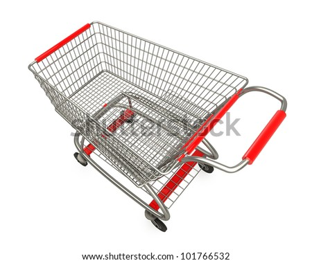 empty shopping cart isolated on white background high resolution 3d render
