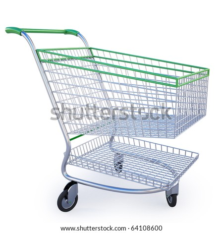 empty shopping cart isolated on white inclluding clipping path. - stock photo