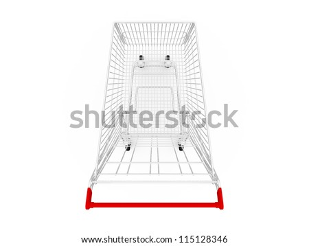 Empty shopping cart, top view, isolated on white background. - stock photo