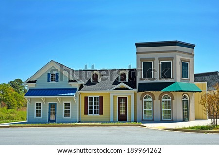 Empty Shopping Center with Retail and Office Space available for sale or lease - stock photo