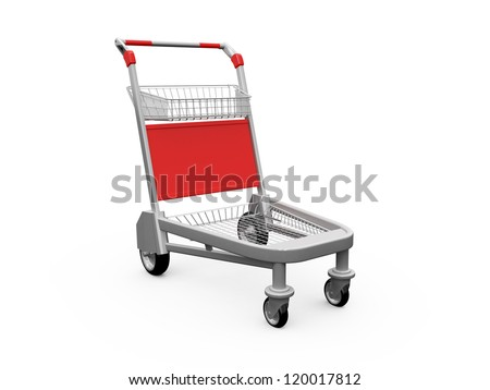 Empty shopping trolley, isolated on white background. - stock photo