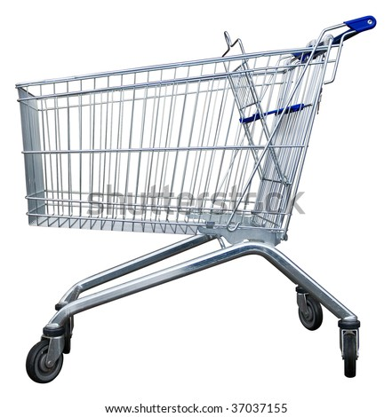 Empty shopping trolley isolated with clipping path - stock photo