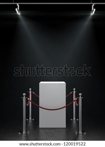Empty showcase for exhibit with spotlights. - stock photo