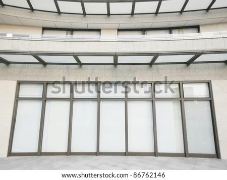 Empty showcase in modern building - stock photo