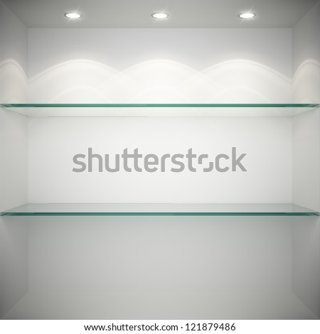 Empty showcase with glass shelves for exhibition - stock photo