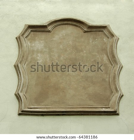 Empty sign on concrete wall - stock photo