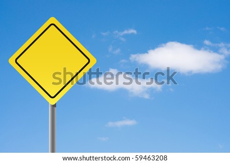 Empty sign on sky  background. - stock photo