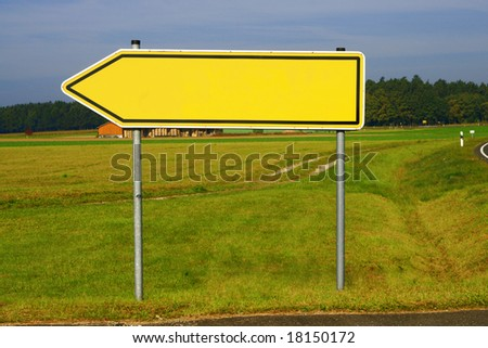 empty sign showing the way to copyspace - stock photo