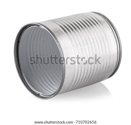 empty silver can on white background