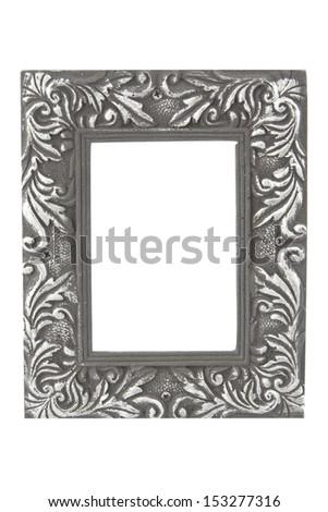empty silver frame / silver frame - stock photo
