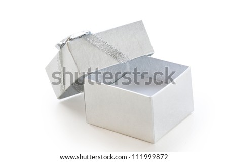 Empty silver gift box isolated on white background - stock photo