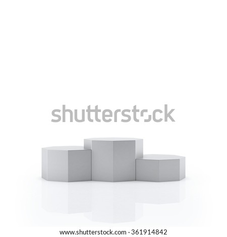 Empty Silver podium for award ceremony, Isolated on white background - stock photo