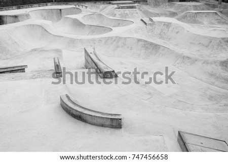 Empty skatepark with bowl and obstacles course. Design skate park